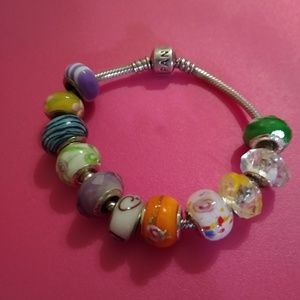 Genuine Pandora bracelet with Pandora like beads